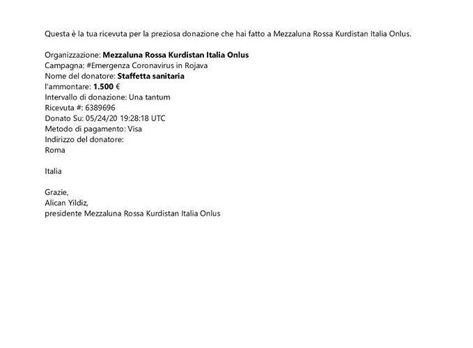 Donazione a favore di MezzaLuna Rossa Curda (e grazie a tutti i sostenitori di Azadì)